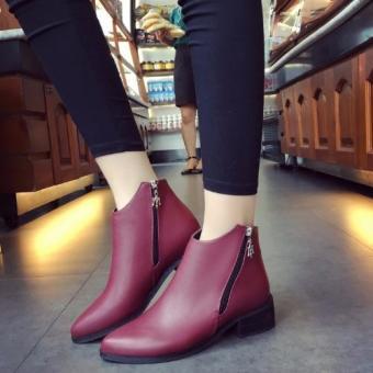 Giày bốt nữ màu đỏ có kéo khóa GBN53