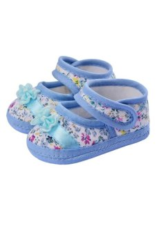 Cyber New Fashion Baby Girl Crib Comfortable Princess Toddler Antislip Sandal Shoes ( Blue ) - intl