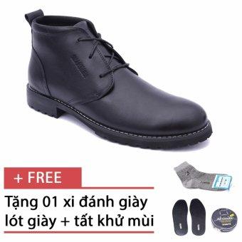 Giày da bốt cổ ngắn cho nam Smartmen SM-02 (Đen), tặng kèm 1 đôi lót giày, 1 hộp xi và 1 đôi tất khử mùi cao cấp