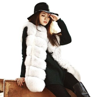 Round Neck Sleeveless Faux Fur Women's Waistcoat S White - Intl