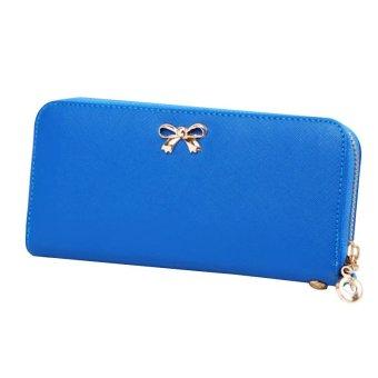 Hot Women Bowknot Purse Solid Wearable Wallet Handbag Leather Solid (Blue) - INTL