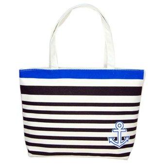 Canvas Blue Anchor Pattern Shopping Shoulder Bags Women Handbag Beach - intl