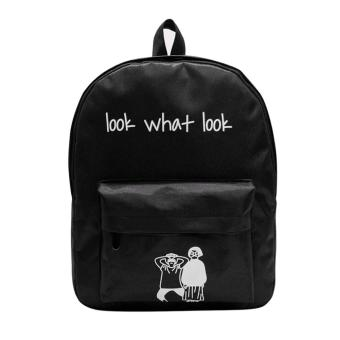 Women Canvas Letter Printing Backpack(Black) - intl