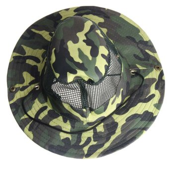 Outdoor Mesh Sunshade Fishing Bucket Hat Cap Camouflage
