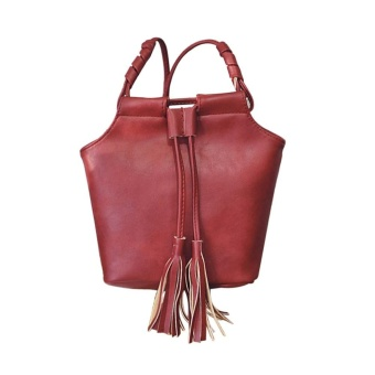 Leather Handbags Fashion Bucket Vintage Shoulder Bags Women Messenger Bag Wine - intl