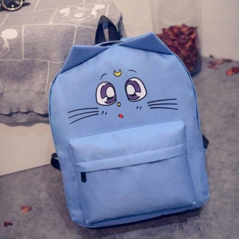 Girl Boy Canvas School Bag Travel Backpack Satchel Cartoon Shoulder Rucksack Sky Blue - intl