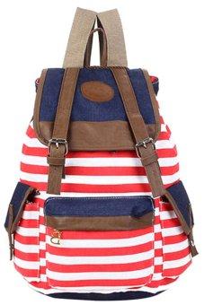 Bluelans Women Unisex Canvas Leisure Bag School Bookbag Travel Backpack Red (Intl)