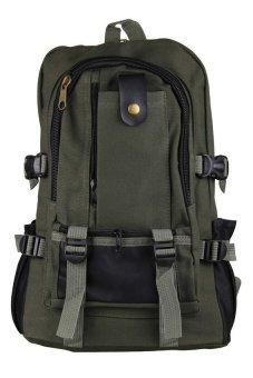 HKS Men Canvas Backpack Shoulder Outdoor Camping Travel School Student Bag Rucksack Army Green - intl