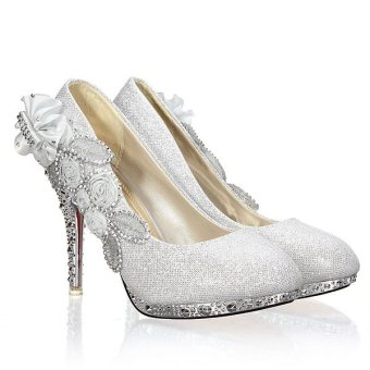 Women Sexy Wedding Bridal Pumps Party Crystal High Heels Silver - Intl