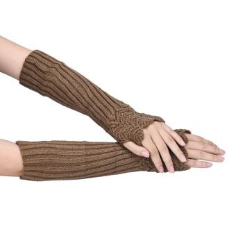 Knitted Arm Fingerless Winter Gloves Soft Warm Mitten Khaki - Intl