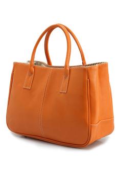 Fashion Women Korea Simple Style PU leather Clutch Handbag Bag Totes Purse Orange - intl