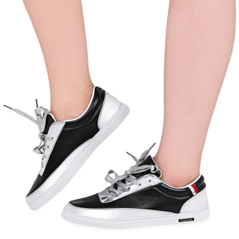 Stylish Patchwork Patent Leather Male Flat Shoes(Black) - intl