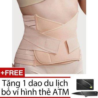Gen nịt bụng eo thon 2 lớp thun + Tặng 1 dao du lịch bỏ ví hình thẻ ATM ( màu đen )