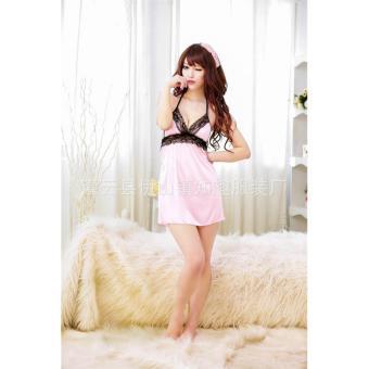 Đầm ngủ thun mát phối ren ngực Kim Phát (hồng)