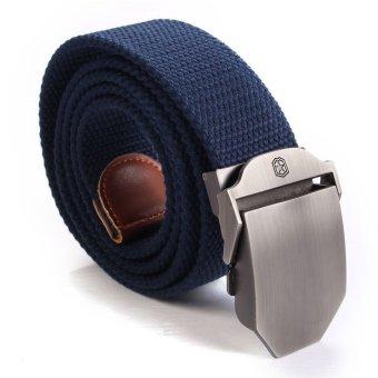 Unisex Adjustable Men Slider Buckle Military Tactical Long Weave Canvas Web Belt (Navy Blue) - intl