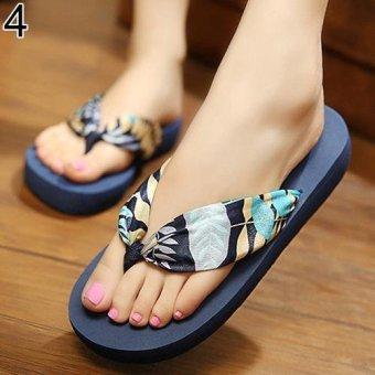 Bluelans Women Summer Bohemian Soft Beach Sandals 8 (Blue) - intl
