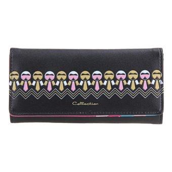 Cartoon Cute PU Leather Women Long Floral Printed Wallet Button Card Holder - intl