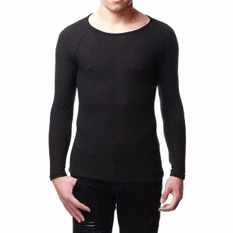 Men's Long Sleeved Tops PolyesterFfiber Soft and Comfortable Ride Wearing Slim Shirt (Black) - intl