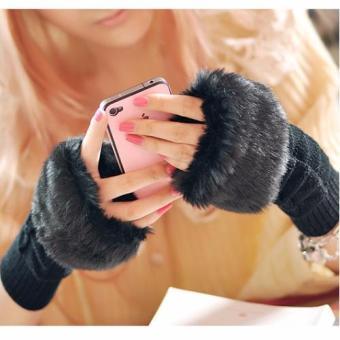 Găng tay nữ mùa đông hở ngón cho dân văn phòng H160 (Đen)
