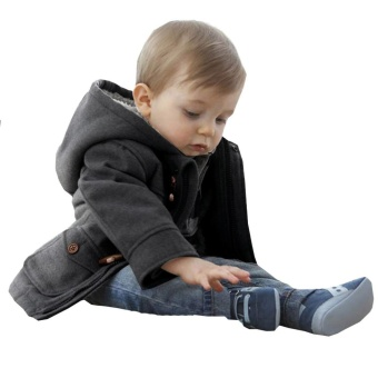 Boy Claw Button Zipper Jacket Coat Grey 120 - intl