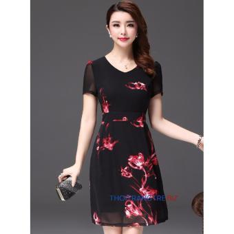 Đầm hoa voan lụa Hàn Quốc LD778( đen họa tiết)