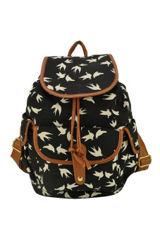 Vococal Vintage Swallow Pattern Backpack (Black) - Intl