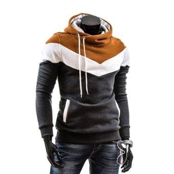 Men Slim Fit Hoodie Thicken Fleece Casual Tops - intl