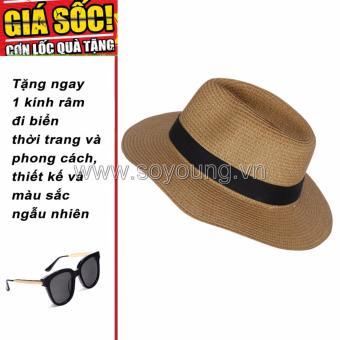 Mũ Cói Đi Biển Nam SoYoung GIFT HAT 043 BR + Tặng 1 Kính Râm Đi Biển Thời Trang