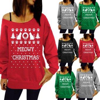 ZANZEA Women Merry Christmas Off Shoulder Sweatshirt Casual Pullover Jumper Sweater Top Red (Intl)