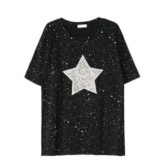 2017 Summer Fashion Shiny Star Patterns with Sequined Short Sleeve Loose Casual Tee Shirt (Black) - intl