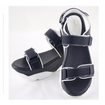 [The bany] Sandal đế báng 5,5cm quai đen