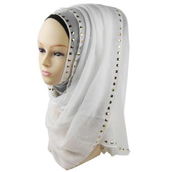 Women Muslim Cotton Studs Decoration Soft Head Neck Wrap Cover Hat Long Shawl Hijab Scarf White (Intl)