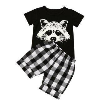 Toddler Baby Boy Fox T shirt Tops Plaid Shorts Pants Outfits Clothes Set - intl
