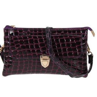 Fashion Women Messenger Bags Crocodile Stripe PU Leather Women Bag(purple) (Intl)
