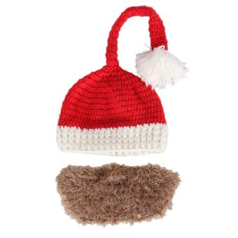 Novelty Winter Crocheted Men's Santa Claus Father Xmas Hats Handmade Beard - intl