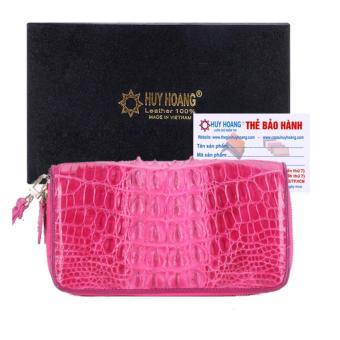 HL3283 - Ví nữ da cá sấu Huy Hoàng nhiều ngăn gai màu hồng