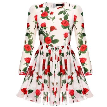 Sunweb Finejo Sweet Fashion Floral Long Sleeve Chiffon Dress ( White ) - intl