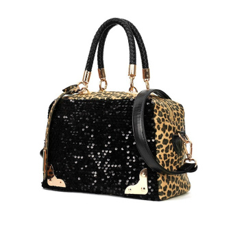 Fashion Casual Women Handbag PU Leather Leopard Print Paillette Sequin Shoulder Messenger Bag (Intl)