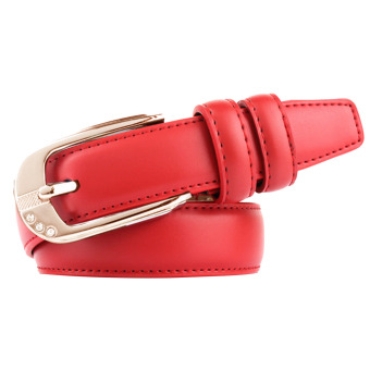 Women Ladies Fashion Adjustable PU Leather Alloy Buckle Waist Belt Strap Red