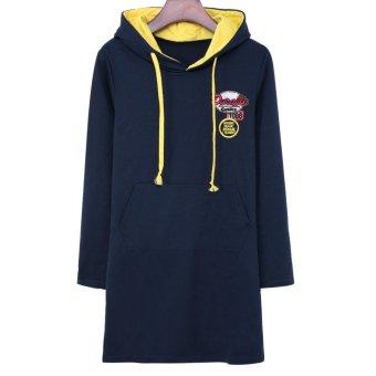 Hooded Long Sleeve Women's Dress Deep Blue TC - Intl