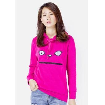 Áo khoác hoodie nữ thêu mèo CIRINO (Hồng)