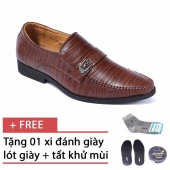 Giày da công sở lịch lãm SMARTMEN GL-042 (Nâu), Tặng kèm 1 hộp xi, 1 đôi lót giày và 1 tất khử mùi cao cấp