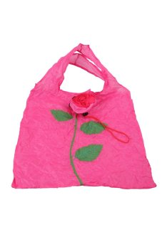 Cute 1Pc Rose Flowers Reusable Folding Shopping Bag Travel Grocery Fuchsia - Intl