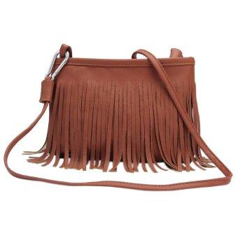 Bluelans Women Tassels Faux Leather Shoulder Bag Messenger Satchel Yellow Brown (Intl)