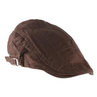 Unisex Men Women Beret Buckle Flat Cap Cabbie Driving Newsboy Gatsby Golf Hat Dark Brown - Intl
