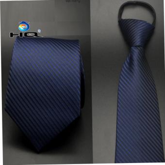 Cà vạt nam bản vừa kéo khóa HQ 2TI48 3(xanh đen sọc)