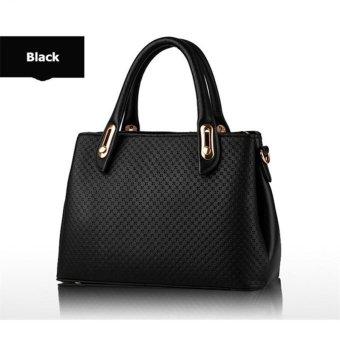 2017 New Premium Quality Female Tote Bags PU Leather Women Handbags (Black) - intl