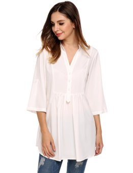 Linemart Women Casual V-Neck Three Quarter Sleeve Solid A-Line Pleated Circular Arc Hem Shirts ( White ) - intl