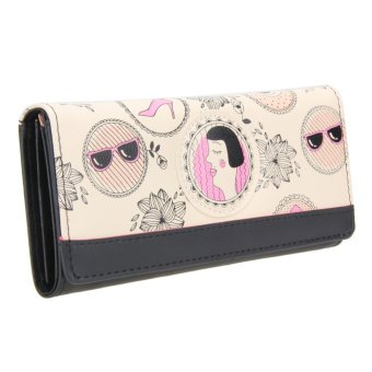 Women Creative PU Leather Long Section Wallet Floral Printed Purse (Black) - intl