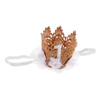 BolehDeals Lovely Baby Girl Glitter 1 Crown Hair Band Flower Tulle Headband White - intl
